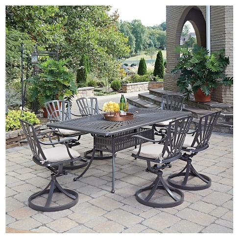 Home Styles Largo 7 Piece Patio Dining Set With Cushions Taupe