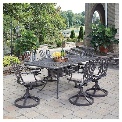 Home Styles Largo 7 Piece Patio Dining Set With Cushions - Taupe & Home Styles Largo 7 Piece Patio Dining Set With Cushions - Taupe ...