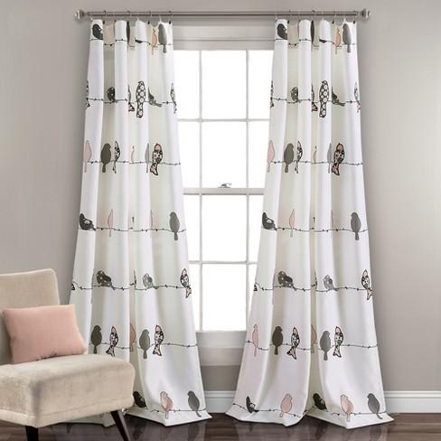 "Rowley Birds Room Darkening Window Curtain Panels Blush/Gray Set 52""X84""+2 - Lush Decor - image 1 of 5"