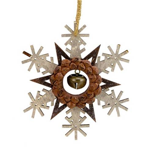 """Northlight 6"""" Brown and White Wooden Snowflake Christmas Ornament - image 1 of 4"""