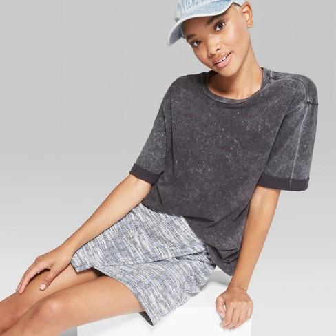 Women's Basic Sleeve Washed Crew Neck Oversized T-Shirt - Wild Fable™ Black M - image 1 of 3