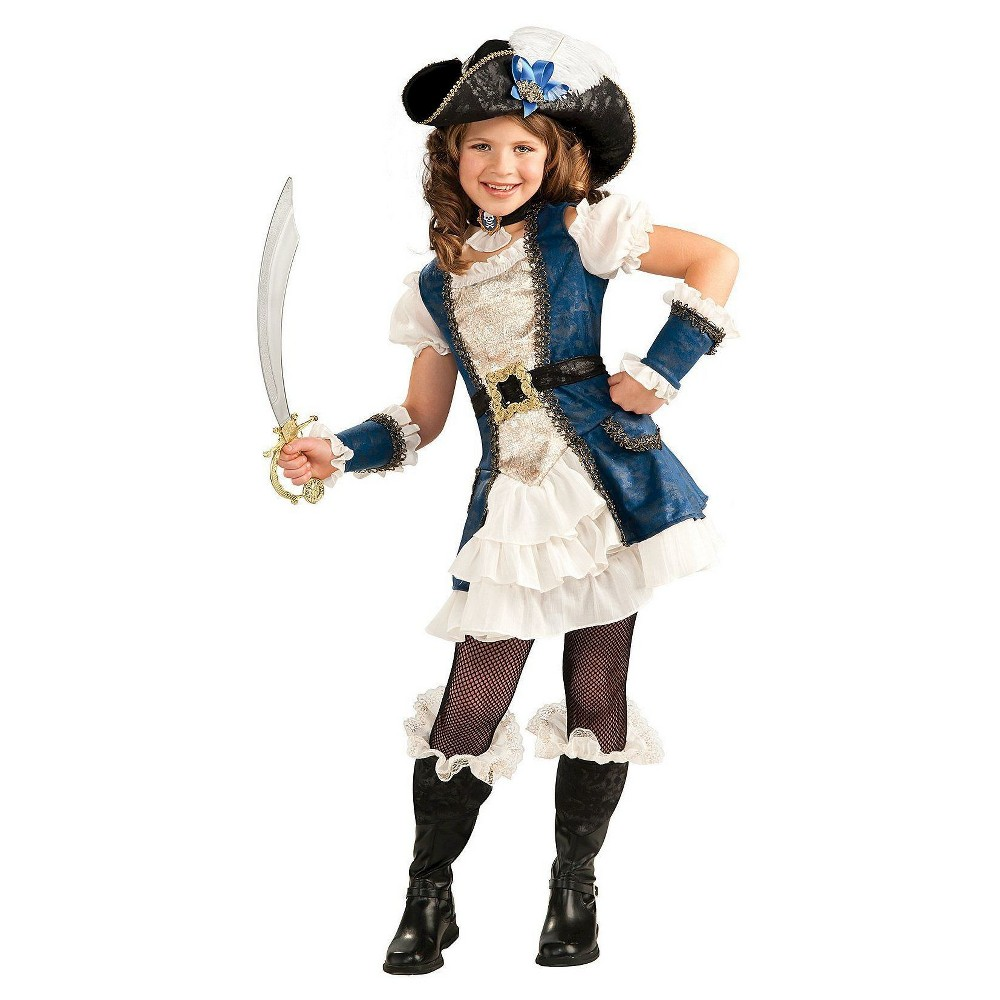 Girls' Blue Pirate Costume - S, Size: S(4-6)