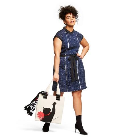 Women\'s Plus Size Polka Dot Sleeveless Collared Pleated Shift Mini Dress -  Jason Wu for Target Navy