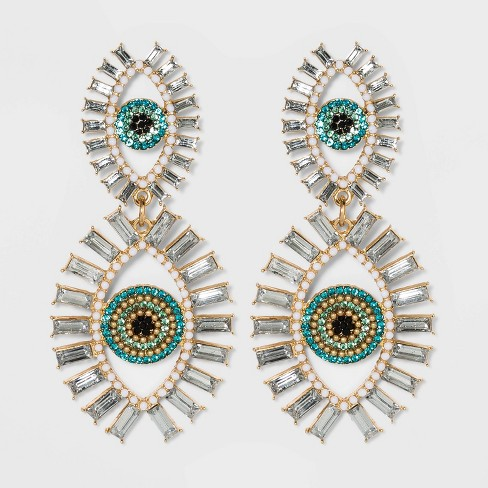 SUGARFIX by BaubleBar Evil Eye Drop Earrings - Turquoise - image 1 of 2