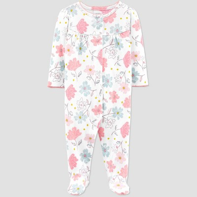 Baby Girls' Floral Organic Cotton Sleep N' Play - little planet organic by carter's Off-White Newborn