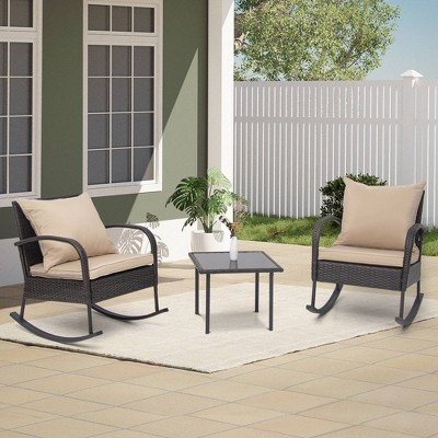 3pc Outdoor Wicker Rattan Rocking Chairs with Glass Top Table - Tan - Crestlive Products