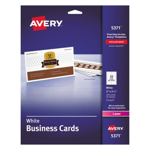 avery 2 x 3 1 2 laser two side printable business cards white