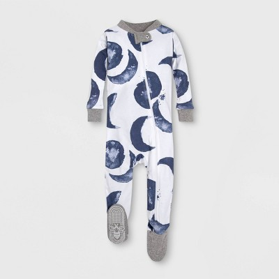 Burt's Bees Baby® Baby Boys' Watercolor Moons Organic Cotton Footed Sleeper - Gray/White/Blue 12M