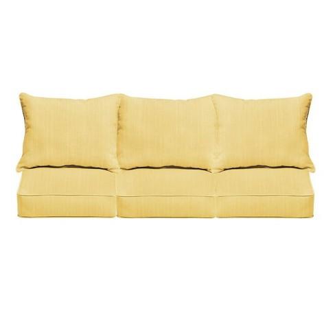 Sunbrella Textured Outdoor Seat Cushion Yellow - image 1 of 4
