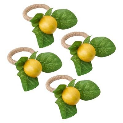 4pk Plastic Lemon Design Napkin Ring Holders Yellow - Saro Lifestyle