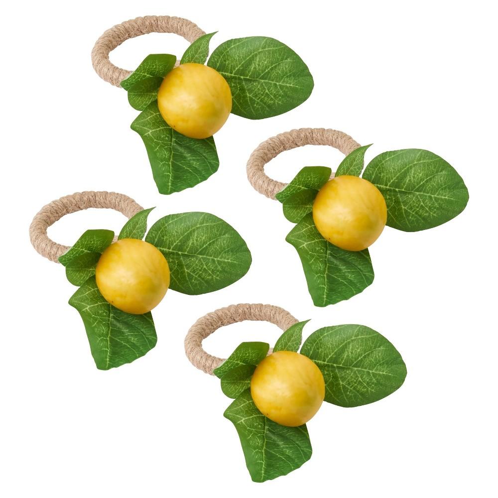 Image of 4pk Plastic Lemon Design Napkin Ring Holders Yellow - Saro Lifestyle