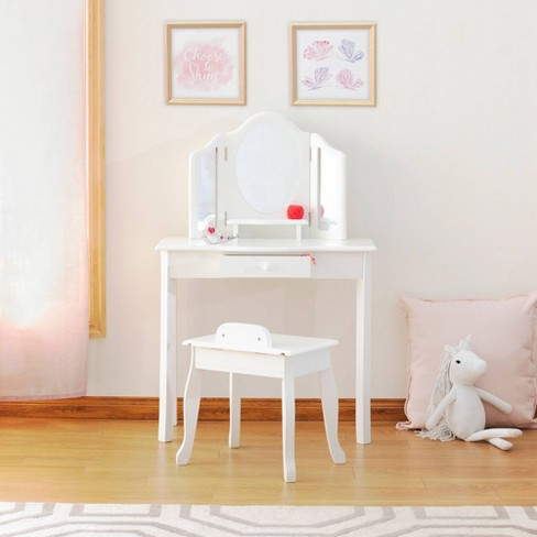 Classic Vanity and Stool White - Guidecraft - image 1 of 4
