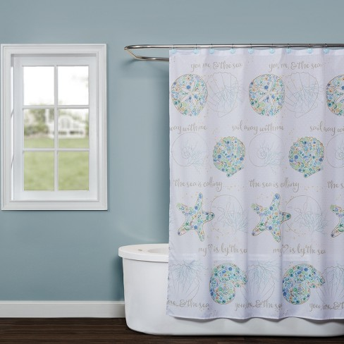 Seaside Blossoms Shower Curtain White