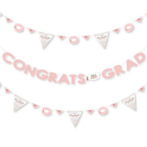 Big Dot of Happiness Rose Gold Grad - 2021 Graduation Party Letter Banner Decoration - 36 Banner Cutouts and Congrats Grad Banner Letters - image 1 of 4