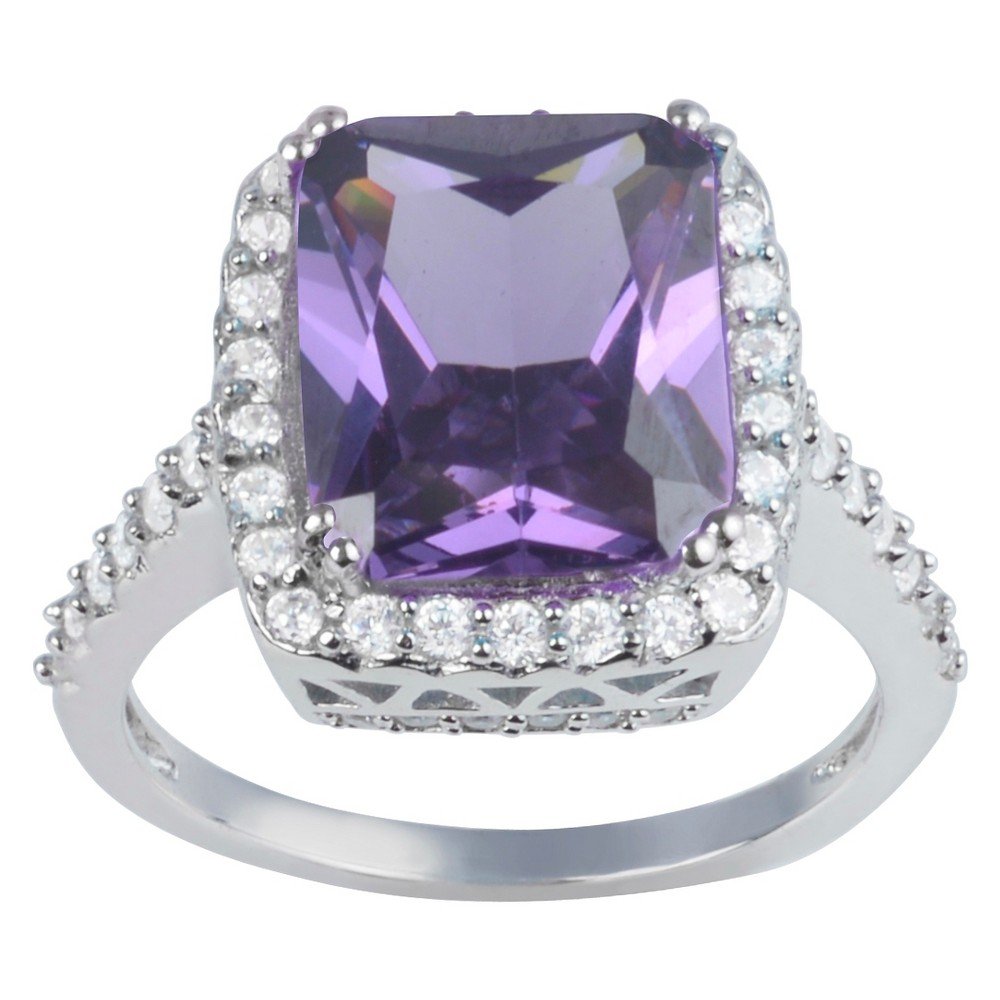2 7/8 CT. T.W. Princess-Cut CZ Basket Set Halo Engagement Ring in Sterling Silver - Purple, 8, Girl's