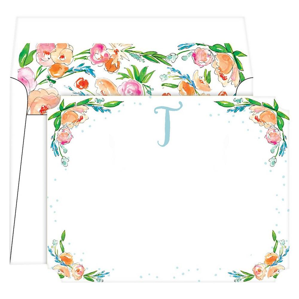 Die-Cut Social Set Floral Crest Monogram - T, Multicolored
