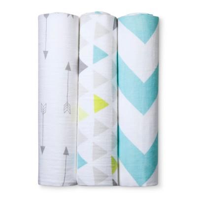 Muslin Swaddle Blankets Triangles 3pk - Cloud Island™ Gray