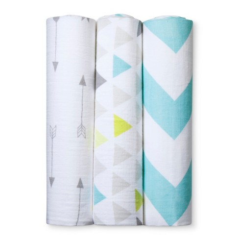 Muslin Swaddle Blankets Triangles 3pk - Cloud Island™ Gray - image 1 of 2
