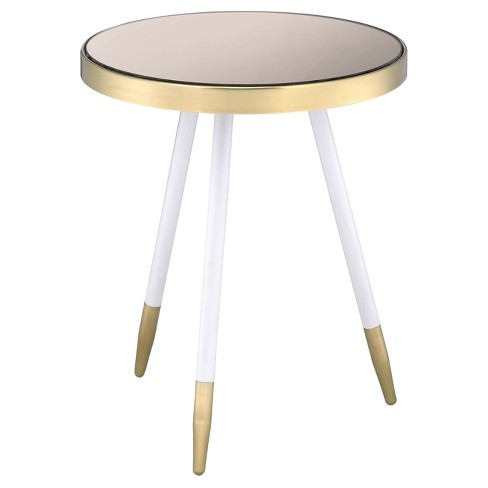 End Table White Antique Brass Gray - image 1 of 4