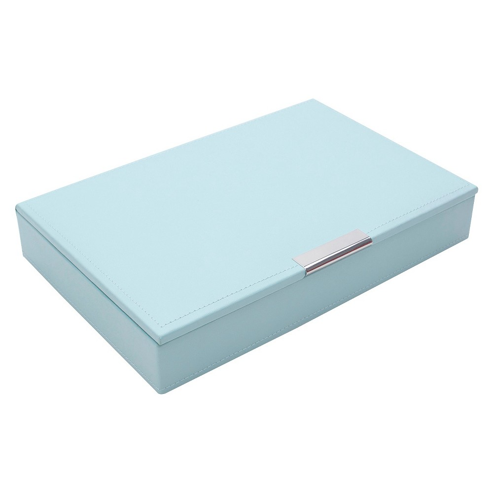 Wolf Multi-Compartment Medium Stackable Jewelry Tray with Lid - Aqua (Blue)