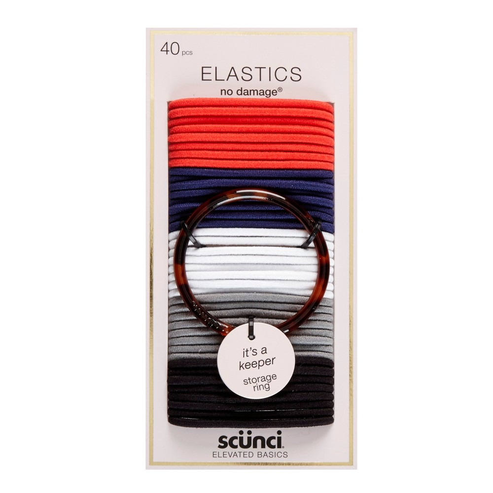 Scunci 4mm No Damage Elastics with Bonus Ring Holder - 40pc, Multi-Colored
