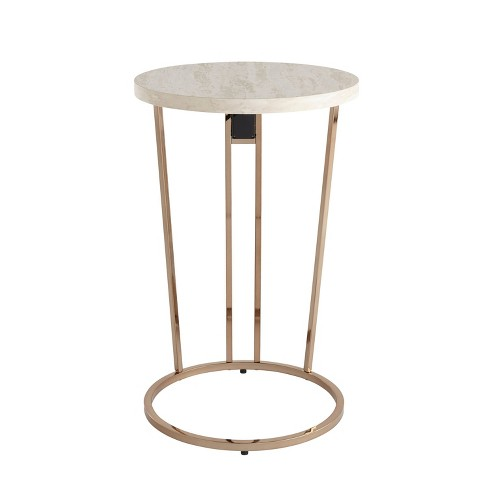 Myrna Faux Stone Side Table with USB Ports White/Gold - Aiden Lane - image 1 of 4