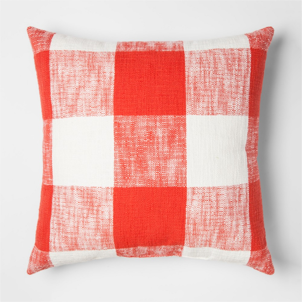 Red/Orange plaid Gingham Throw Pillow - Threshold