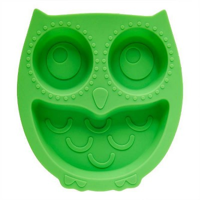 """8.8"""" x 8.3"""" Silicone Owl Divided Suction Plate Green - Brinware"""