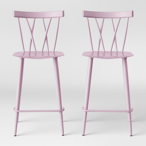 Set of 2 Becket Metal X Back Counter Stool Light Pink - Project 62™ - image 1 of 5