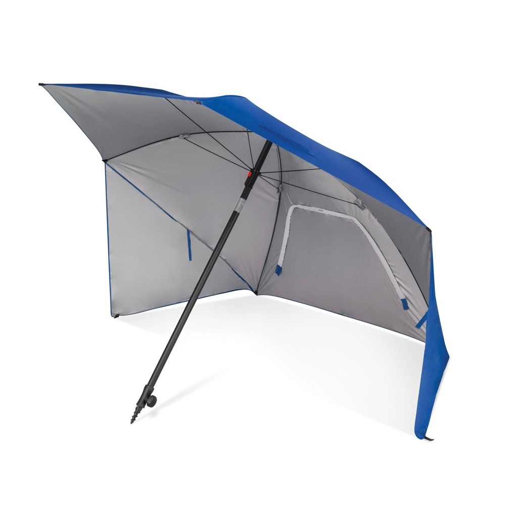 Sport-Brella Ultra Canopy - Blue The 8 foot Sport-Brella Ultra is the easiest maximum protection shelter to keep you protected from the sun, wind, and rain. It is lined with a Upf 50+ undercoating that blocks harmful Uva and Uvb rays. Durable center pole has a built-in auger tip to easily anchor into most surfaces and adjusts for maximum shade. Zippered windows allow air to flow through and prevent umbrella from blowing away. Reinforced carry bag and ground stakes included. Color: Blue.