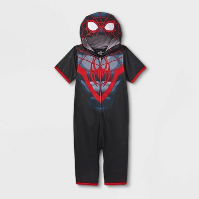 Boys' Marvel Miles Spidey Pajama Romper - Black