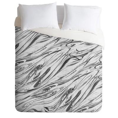 Gray Pattern State Marble Linen Duvet Cover - Deny Designs