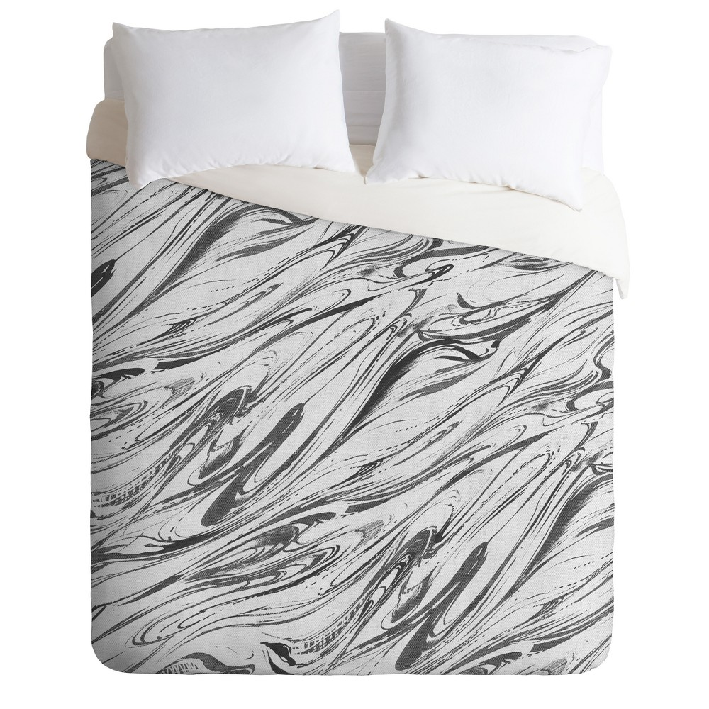 Gray Pattern State Marble Linen Duvet Cover (Twin) - Deny Designs