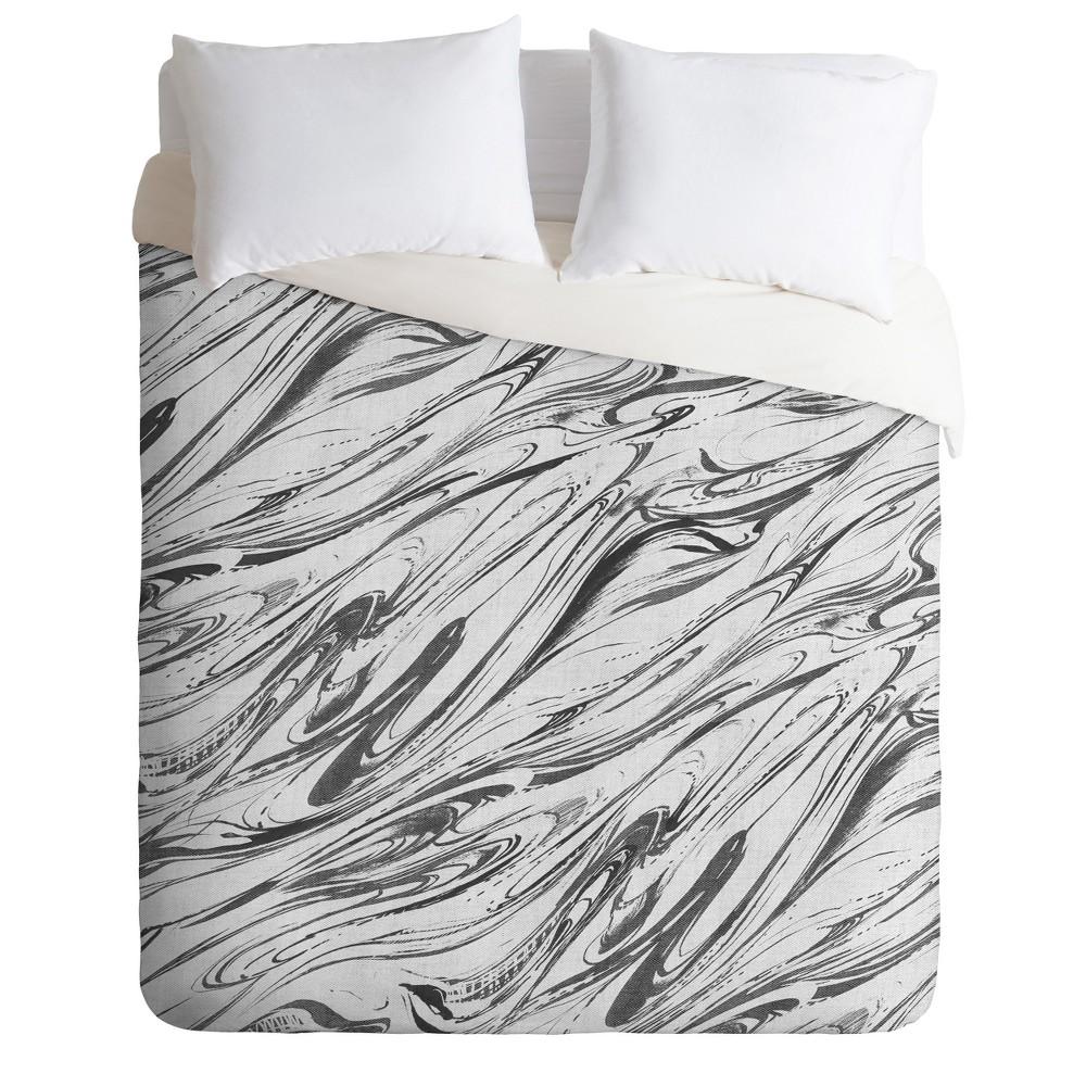 Gray Pattern State Marble Linen Duvet Cover (King) - Deny Designs