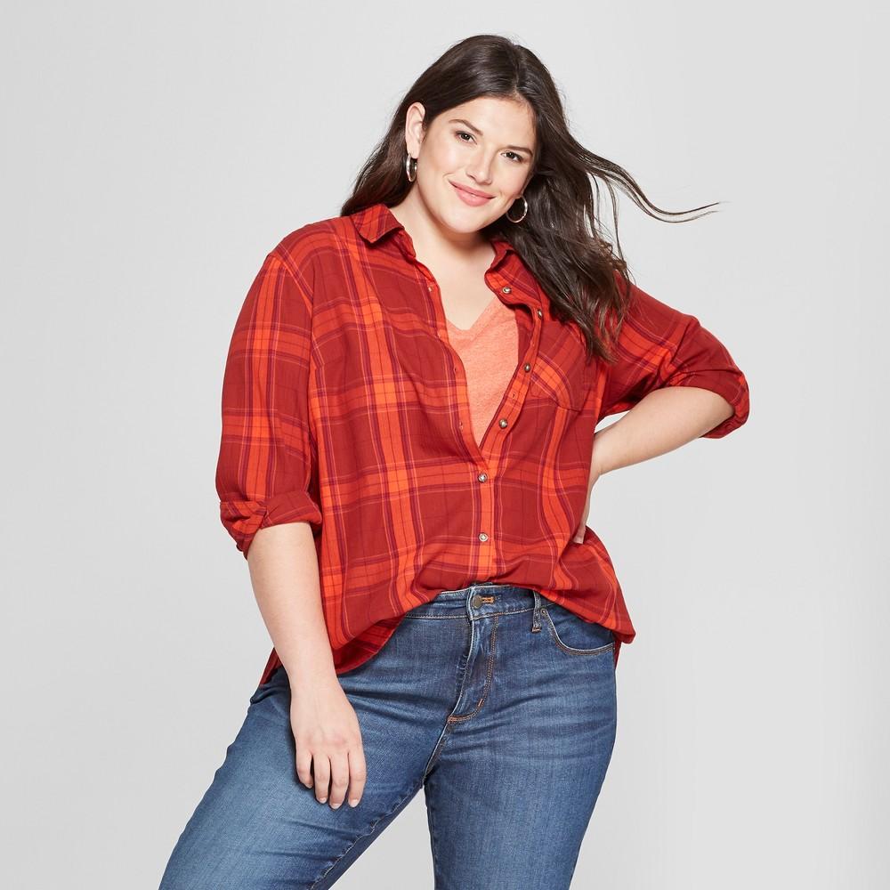 Women's Plus Size Plaid No Gap Button-Down Long Sleeve Shirt - Ava & Viv Red 2X