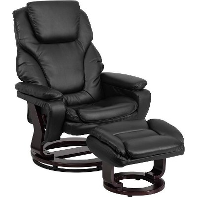 Contemporary Recliner and Ottoman Leather - Riverstone Furniture Collection