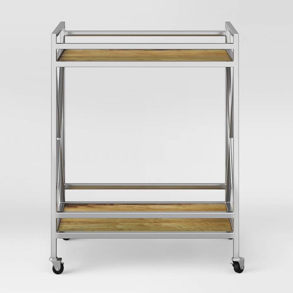 Maison Polished Chrome (Grey) and Wood Bar Cart - Assembly Required - Project 62