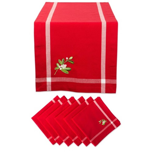 Embroidered Mistletoe Corner With Border Table Set Red - Design Imports - image 1 of 4