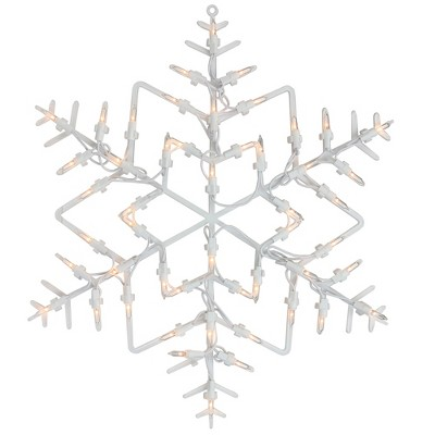 "Northlight 16"" White Lighted Snowflake Christmas Window Silhouette Decoration"