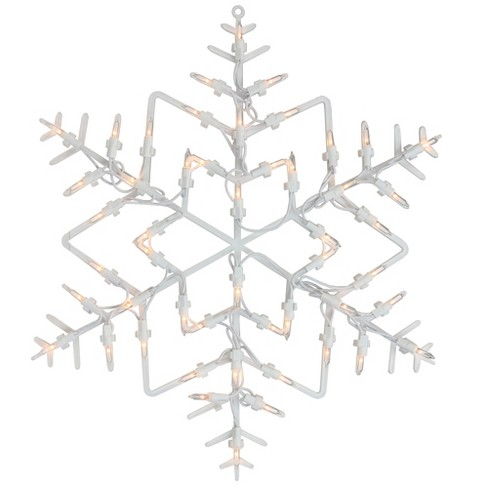 """Northlight 16"""" White Lighted Snowflake Christmas Window Silhouette Decoration - image 1 of 3"""