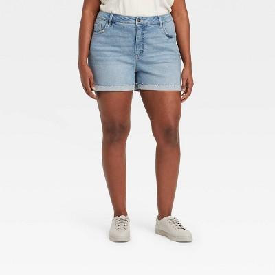 Women's Plus Size Denim Turn Back Fray Hem Jean Shorts - Ava & Viv™ Light Wash