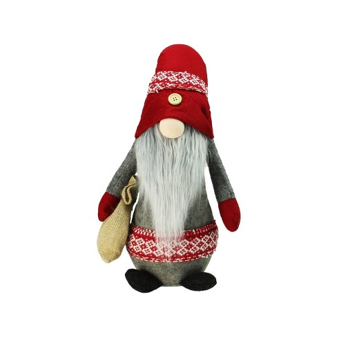 """Northlight 29.5"""" Plush Red and Gray Nordic Santa Christmas Gnome with Burlap Sack Tabletop Figure - image 1 of 3"""