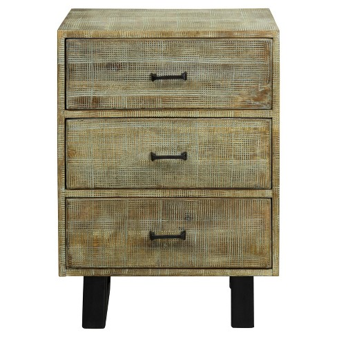 Solid Mango Wood 3 Drawer Storage Chest with Scored Finish and Metal Hardware On Metal Legs - Grey Wash - Stylecraft - image 1 of 1