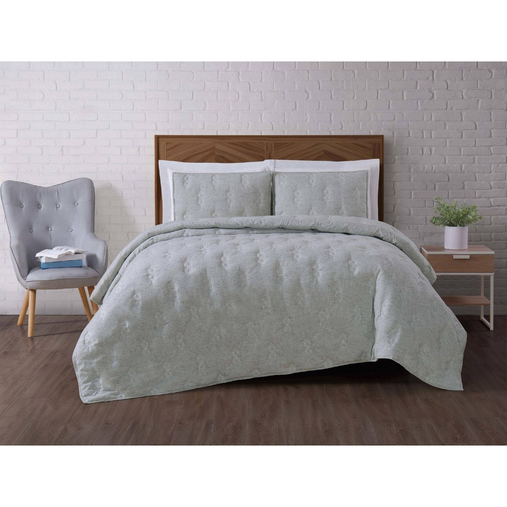 Image of Full/Queen Tender Green Quilt Set - Brooklyn Loom