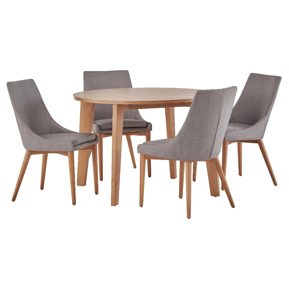 Sullivan Oak Mid Century 5-Piece Round Dining Set - Smoke (Grey) - Inspire Q