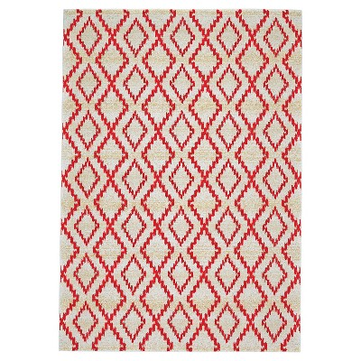 """2'2""""X4' Geometric Woven Accent Rugs Red - Weave & Wander"""
