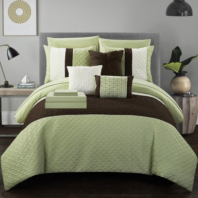Chic Home Karras Color Block Quilted Decorative Pillows & Shams - Green