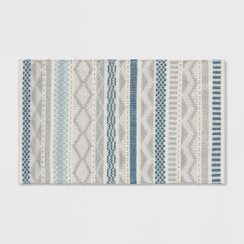 Gray Blue Gold Woven Accent Rug 2 6 X4 Opalhouse
