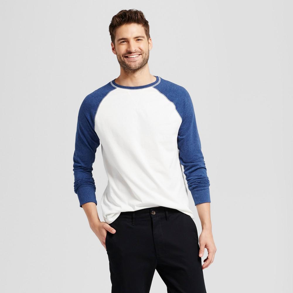 Men's Standard Fit Long Sleeve Raglan Color Block Crew T-Shirt - Goodfellow & Co Navy (Blue) L