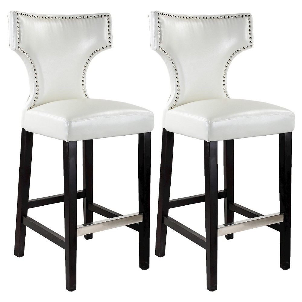 "Image of ""31"""" Kings Studded Bonded Leather Barstool - White (Set Of 2) - Corliving"""